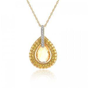 3.08 Ct Citrine & Diamond Necklace 14K Yellow Gold